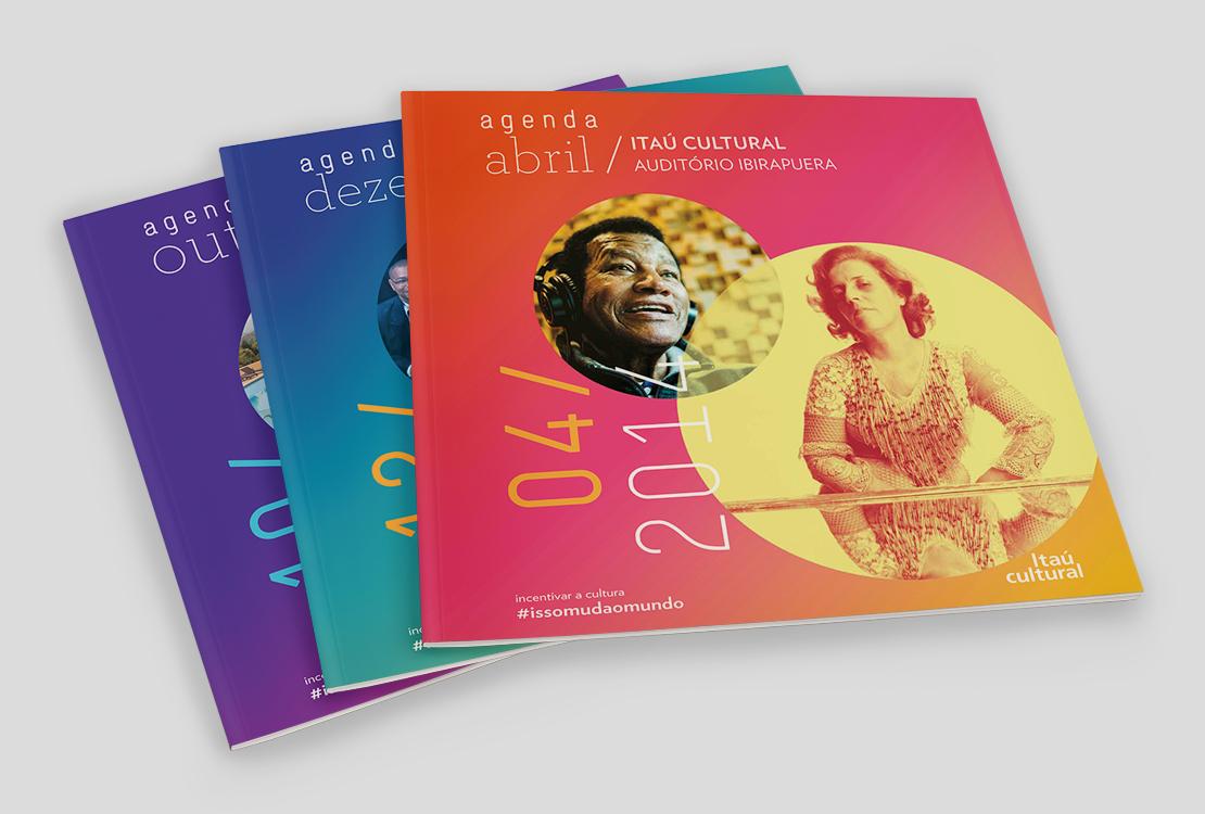 Programação cultural impressa e mobile do Itaú Cultural.